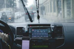 inside car of uber driver